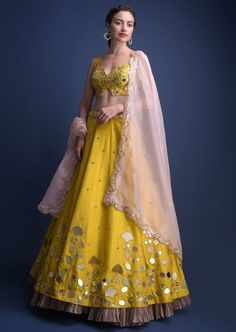 Oct 2019 - Call/Whatsapp: 7802885280 Kinas Designer present this fully custom made in We are offering fully Hand Made, Zardosi Work bridal collection at the best price. Buy this latest Bridal Lehenga Choli collection at Indian Lehenga, Raw Silk Lehenga, Yellow Lehenga, Yellow Gown, Indian Gowns Dresses, Indian Fashion Dresses, Dress Indian Style, Indian Designer Outfits, Lehenga Choli Designs