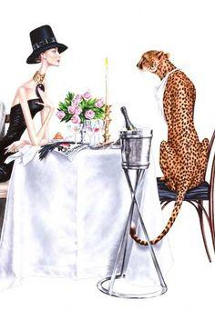 Elena, Arturo - Woman w Cheetah I Love Fashion, Fashion Art, Womens Fashion, Fashion Tips, Fashion Design, Fashion Trends, Wild Fashion, Illustration Mode, Illustration Artists