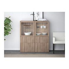 BESTÅ Storage combination w/glass doors - Lappviken/Sindvik gray stained walnut eff clear glass, drawer runner, push-open - IKEA