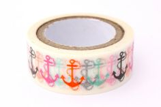 Nautical Washi Tape / Anchor Adhesive Paper by PoppyCraftSupplies