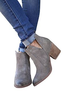 e2df94411440 FISACE Womens Cute Cowboy Bootie Pointed Toe Slip on Stacked Low Heel  Western Ankle Boot -
