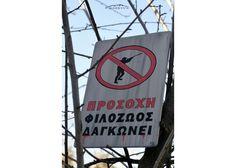 Προσοχή φιλόζωος δαγκώνει Culture Quotes, Wooden Signs With Sayings, Greek Culture, Hand Painted
