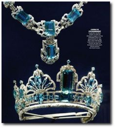 THE BRAZILIAN AQUAMARINE PARURE: Brazilian Aquamarine tiara and necklace, one of the newest set of british jewelry. From Brazilian president ,Getulio Vargas, and brazilian people as coronation gift to Queen Elizabeth in 1953.