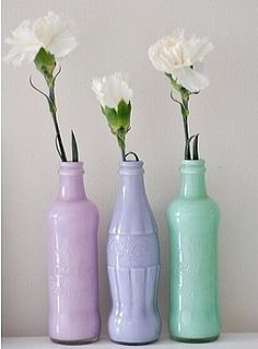 Paint inside of old glass bottle and use as decoration. (Full inside of bottle with a small cup of paint. then put on cap and shake/swirl around paint until the entire inside is coated in paint)