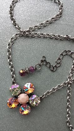 So fun! Fancy flower necklace! Sabika inspired!   Swarovski Crystal Designer inspired flower by KissMySassJewelry, $35.00