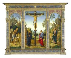 "Perugino, Pietro Umbrian, c. 1450 - 1523 ""The Crucifixion with the Virgin, Saint John, Saint Jerome, and Saint Mary Magdalene""   c. 1482/1485 oil on panel transferred to canvas framed: 134 x 165.1 x 7.3 cm (52 3/4 x 65 x 2 7/8 in.) National Gallery of Art"