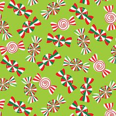 Cotton Quilt Fabric Christmas Holiday Cheer Lime Holiday Peppermints - product image