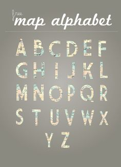 free map alphabet could be fun to print childs name, cut it out and make a tree garland at Christmas or use as gift toppers