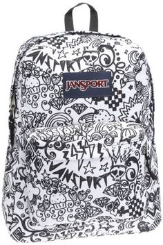 back to school backpack, backpack for teens, doodle jansport backpack, jansport… Mochila Jansport, Sac Jansport, Jansport Superbreak Backpack, Puppy Backpack, Backpack Purse, Black Backpack, Black And White Doodle, Black White, Chocolate Lab Puppies