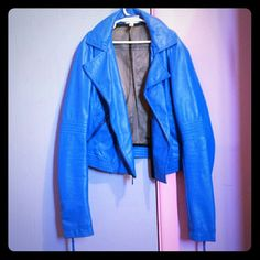 Selena Gomez NEO Blue Leather Jacket Morgan   Hello, lovely ladies! Thank you for looking at this listing!   Little wear and tear.  trades   Paypal ✔ Bundles Adidas Jackets & Coats