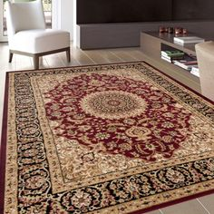 Traditional Oriental Medallion Design Burgundy Area Rug (5'3 x 7'3) - 17412959 - Overstock.com Shopping - Great Deals on 5x8 - 6x9 Rugs