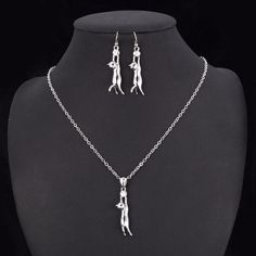 Lovely Cat Pendant Necklace Earrings Set
