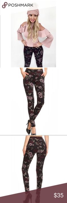 """🆕Floral Print Tregging Pants with Zipper Detail These Floral Print Treggings bring comfort and style together!  There is plenty of stretch room without show through, the material is thick and so comfortable against your skin!  Features a wide waistband, waist pockets, and a zipper trim detail! Color:  Black/Burgundy/Mauve 92% POLYESTER, 8% SPANDEX Measurements are for a size Small (unstretched): Waist: 23"""", Hip: 26"""", IS: 28""""  Med )Waist: 25"""", Hip: 28"""", IS: 28 Large): Waist: 27"""", Hip: 30"""", IS: 2 Fashion Design, Fashion Tips, Fashion Trends, Color Black, Floral Prints, Shop, Pants, Closet, Armoire"""