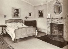 Lytton Strachey's room in Ham Spray, decorated with paintings by Carrington, where he died in 1932.