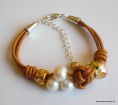 Cuero camel,perlas de río y abalorios estilo pulsera europea de cristal facetado y dorado.