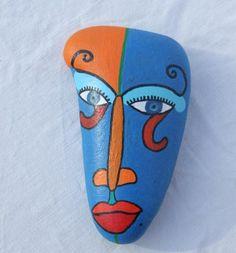 Art Bo'M - Galet personnage bleu et orange