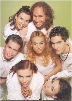 Timbiriche - El grupo original.  Mariana, Erick, Diego, Paulina, Benny, Sasha y Alix