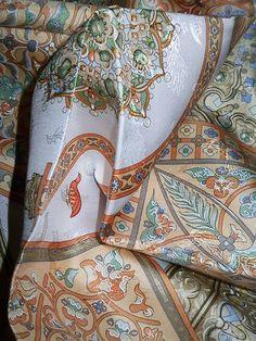 "Detail of HERMES Jacquard Silk SCARF 90x90/35""x35"" CIELS BYZANTINS by J.ABADIE 1997"