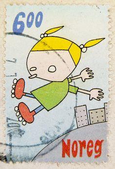 beautiful stamp Noreg 6.00 Kr. Norge Norwegen Norway rollerblade timbre briefmarke by stampolina, via Flickr
