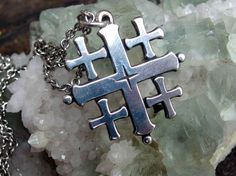 """Vintage Sterling Silver Jerusalem Cross Pendant, 28"""" Sterling Chain, Signed with Maker's Marks on Each Piece by postGingerbread on Etsy"""