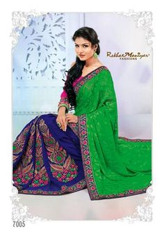 Introducing this designer saree as created especially for women's wedding and party occasions to give fabulous look to her beauty. This saree has a great combination of green (pallu) prism cut brasso and royal blue georgette patli accompanied with cherry pink colour embroidery on it, also the embroidery on the patli is accompanied by golden diamonds on it giving a fabulous shine to the saree and add an extra glamour to the look of every woman wearing the saree. *Blouse included (Unstiched).