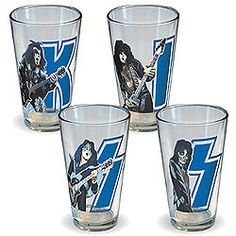 Set of 4 16-oz. glasses features images of the band's members in their Destroyer days, silhouetted against the letters K-I-S-S.