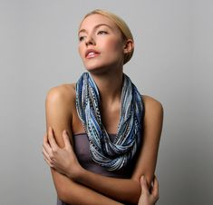 Blue Winter Scarf Chunky Infinity Scarf Best Friend Gift Mom Cotton Scarves  for Women 61c26b2dc64