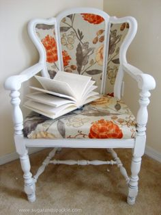 Sugar and Spackle: Before & After: DIY Upholstered Cane-Back Chair