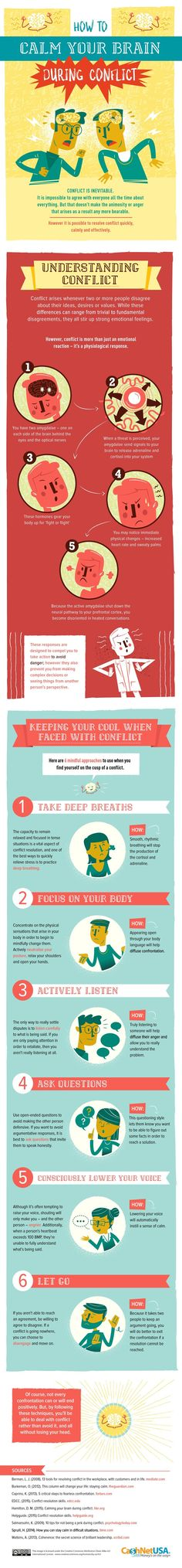 How to Calm Your Brain During Conflict #Infographic #HowTo #Leadership #Management