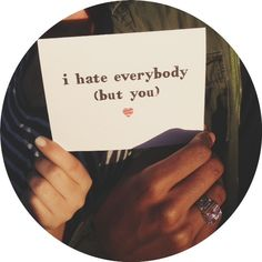 I hate everybody but you - Greeting Card. Romantic. Anti- Valentine's Day.. $4.00, via Etsy.