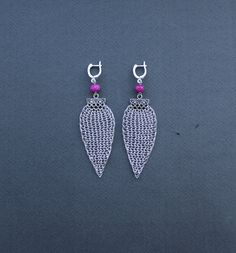 ARINA Statement Dangle Earrings/ Long Large Silver Wire Crocheted Pink Faceted Chalcedony Earrings