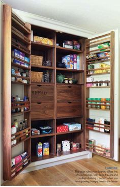 What a great idea for a large pantry in the kitchen! What a great idea for a large pantry in the kitchen! What a great idea for a large pantry in the kitchen! What a great idea for a large pantry in the kitchen! Pantry Organization, Pantry Ideas, Organizing, Kitchen Ideas, Home Decor Furniture, Beautiful Space, Space Saving, Home Kitchens, Liquor Cabinet