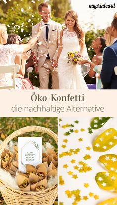 Öko Konfetti – Biologisch abbaubar und kostengünstig A healthy lifestyle and the thought of future generations are discussed everywhere. The sustainable wedding not only reduces … Green Wedding, Diy Wedding, Wedding Flowers, Biodegradable Confetti, Biodegradable Products, Photo Prop, Fleurs Diy, Sustainable Wedding, Engagement Ring Cuts