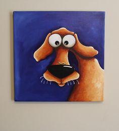 Original acrylic canvas painting whimsical folk art animal Dog puppy caterpillar #IllustrationArt #dog #puppy #caterpillar
