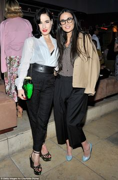 Model/performer Dita Von Teese (L) and actress Demi Moore attend an intimate dinner hosted by Charlotte Olympia Dellal and Liz Goldwyn at The Sunset Tower Hotel on May 2015 in West Hollywood, California. Demi Moore, Charlotte Olympia, Dita Von Teese Style, Dita Von Tease, Burlesque, Idda Van Munster, Old Hollywood Glamour, West Hollywood, Vogue