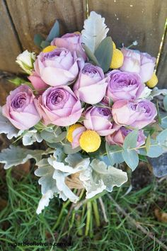 Sugar Bee Flowers: Apricot cottage rose bouquet & purple, yellow and silver bouquet