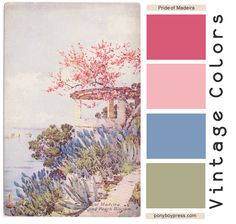 Vintage Color Palette - Pride of Madeira - read more and see hex codes on the… Vintage Colour Palette, Pastel Colour Palette, Colour Pallette, Vintage Colors, Pastel Colors, Scheme Color, Office Color Schemes, Color Schemes Design, Color Combos