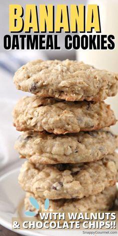 Walnut Cookie Recipes, Drop Cookie Recipes, Walnut Cookies, Oatmeal Cookie Recipes, Delicious Cookie Recipes, Dessert Recipes, Banana Cookie Recipe, Dinner Recipes, Pumpkin Recipes