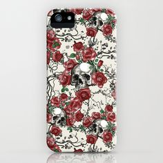 Skulls and Roses iPhone & iPod Case by Paula Belle Flores - $35.00 #skull #rose #pattern #vintage #iphonecase #iphone5 #cover #belle13