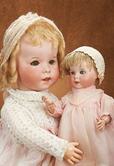 """Two French Bisque Character Toddlers, SFBJ 247.... 27"""" (69 cm.) and 16"""""""