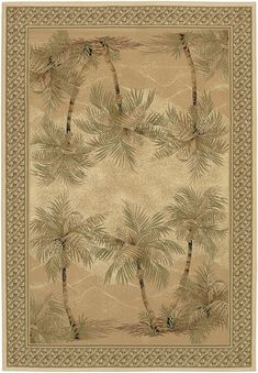 Off Everest Palm Tree Desert Sand Rectangular: 5 ft. 3 in. x 7 ft. 6 in. Rug by Couristan. Tropical Area Rugs, Floral Area Rugs, Floral Rug, Tropical Decor, Coastal Decor, Coastal Living, Area Rug Runners, Machine Made Rugs, Rectangular Rugs