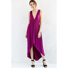 Kimchi Blue Plunging High/Low Maxi Dress (55 AUD) ❤ liked on Polyvore featuring dresses, low plunge dress, sleeveless maxi dress, plunge dress, pink maxi dress and pink dress