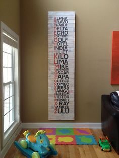 Alphabet Art Roundup Phonetic alphabet Sign by: mohaus: Weekend Project: Sign Art Alphabet Signs, Phonetic Alphabet, Alphabet Art, Alphabet Nursery, Baby Boys, Baby Boy Rooms, Baby Boy Nurseries, Fun Baby, Weekend Projects