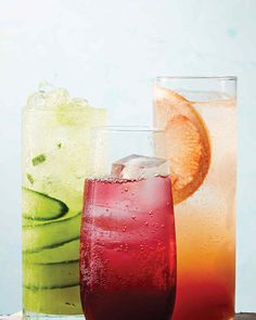 Get the lowdown on how to make the perfect spritz, and get the recipes for three of our summer favorites: Pineapple-Cucumber Spritz, Hibiscus-Ginger Spritz, and Spicy Grapefruit Spritz. #cocktails #drinkrecipes #marthastewart