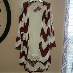 Long chevron print cardigan So cute!  Burgundy and cream colored.  (Shown with lace top extender, sold separately )  I have 2 size medium  available Sweaters Cardigans