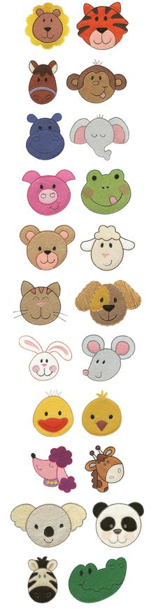 Cute animal faces chart. Lots of cookie inspiration.