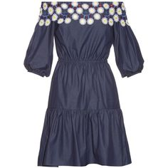 Peter Pilotto Pallas off-the-shoulder cotton dress ($918) ❤ liked on Polyvore featuring dresses, navy multi, floral print dress, navy floral dress, off the shoulder floral dress, navy dress and navy summer dress