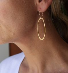 recycled silver and gold textured oval modern earrings. $70.00, via Etsy.