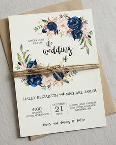 Rustic Blue Wedding Invite