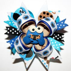 """2.5"""" Mini Cookie Monster Inspired Blue Stacked Hair Bow and Headband"""